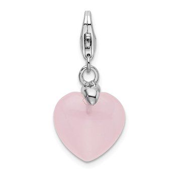 Sterling Silver Rhodium-plated Rose Quartz Heart w/Lobster Clasp Charm