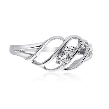 14K White Gold Woven Two-Stone Diamond Ring