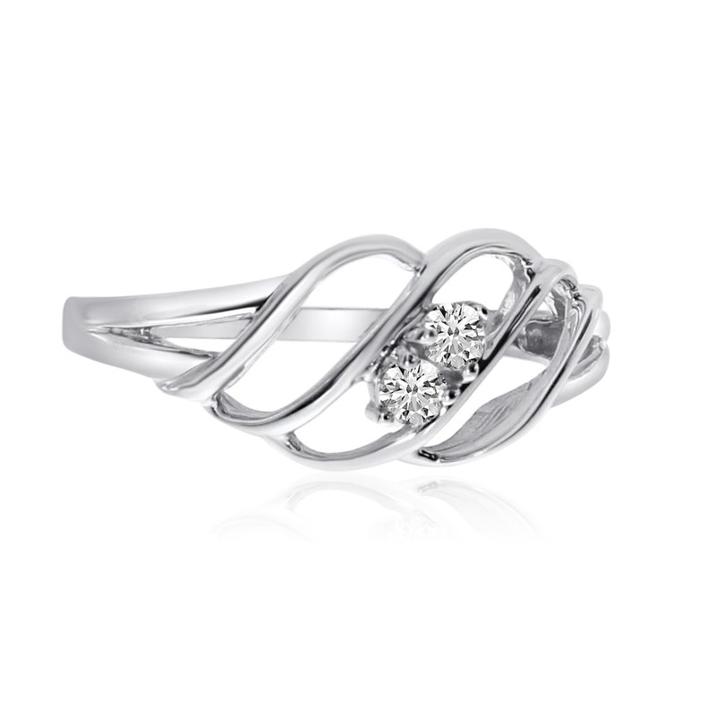 Color Merchants 14K White Gold Woven Two-Stone Diamond Ring