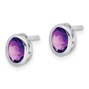 Sterling Silver Rhodium-plated Polished Amethyst Oval Post Earrings