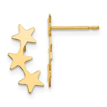 14k Madi K Polished 3-Star Post Earrings