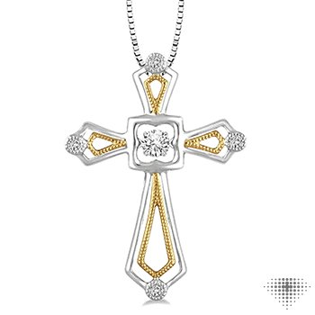 Cross Shape Emotion Diamond Pendant