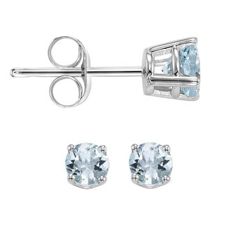 14K Aquamarine Studs 3 mm Rd