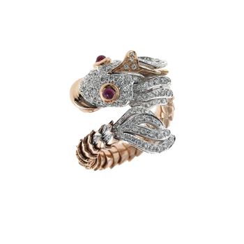 18KT GOLD DIAMOND AND RUBY NEMO RING