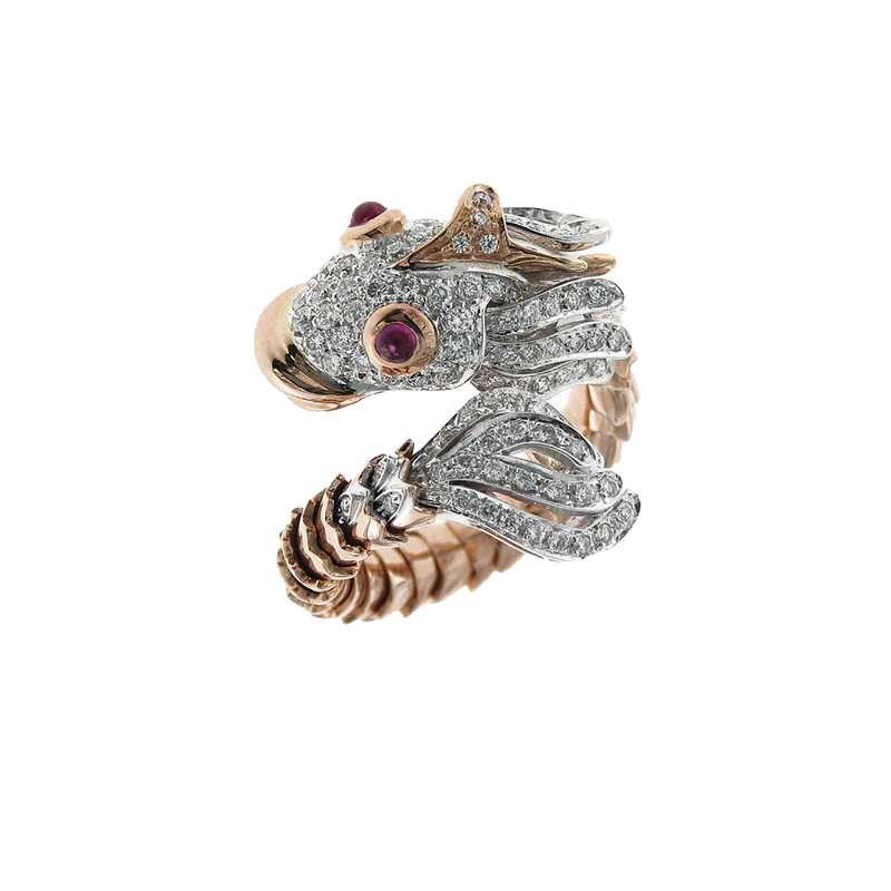 Roberto Coin 18Kt Gold Diamond And Ruby Nemo Ring