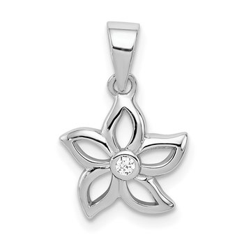 Sterling Silver Rhodium-plated Flower with CZ Pendant
