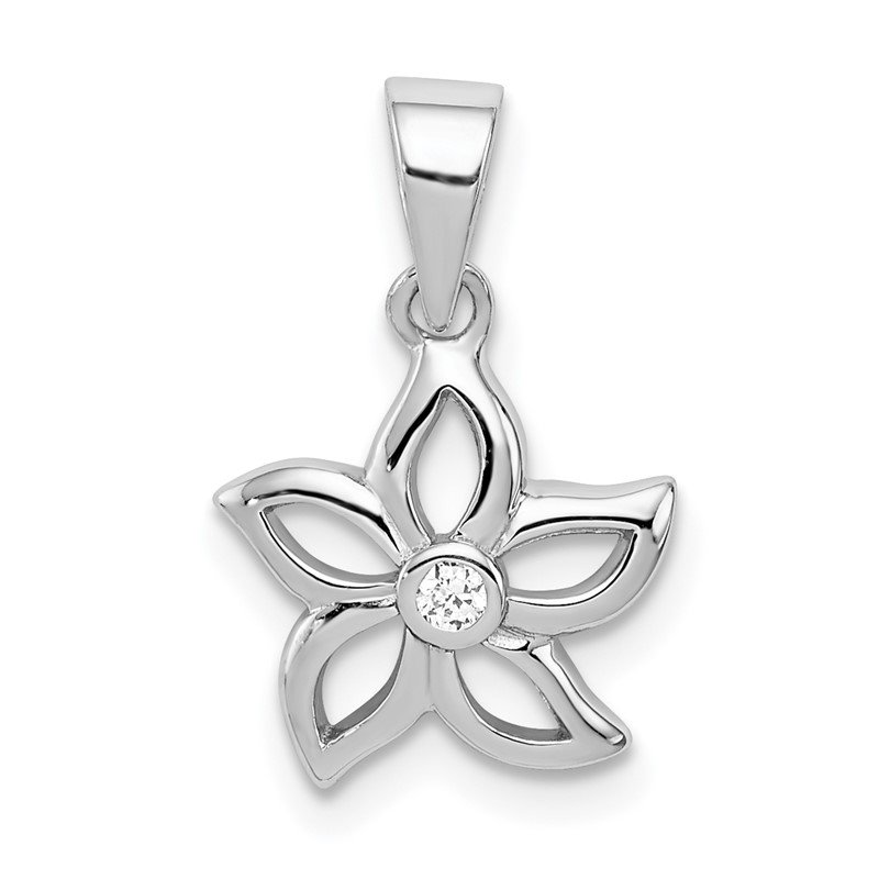 Quality Gold Sterling Silver Rhodium-plated Flower with CZ Pendant