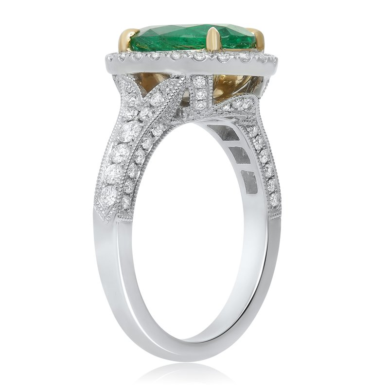 Roman & Jules Emerald & Diamond Halo Ring