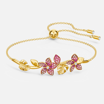 Tropical Flower Bangle, Pink, Gold-tone plated