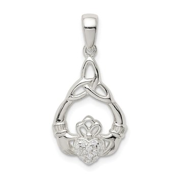 Sterling Silver Polished CZ Claddagh w/Trinity Knot Pendant