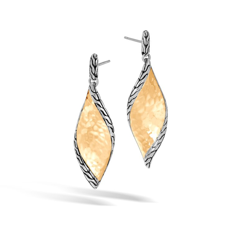 John Hardy Classic Chain Wave Drop Earring, Silver, Hammered 18K Gold