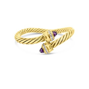 14K Yellow Gold Diamond Amethyst Adjustable Cable Bangle Bracelet