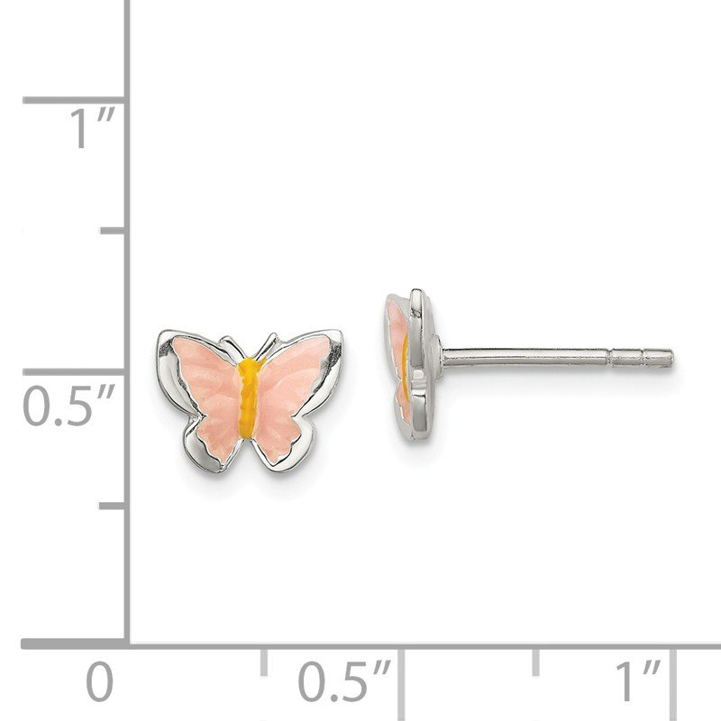 Quality Gold Sterling Silver Children's Enameled Butterfly Post Earrings