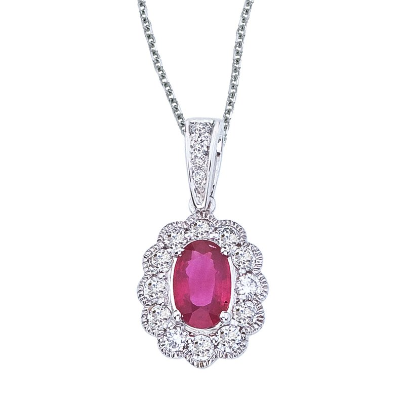 Color Merchants 14k White Gold Ruby and Diamond Oval Pendant