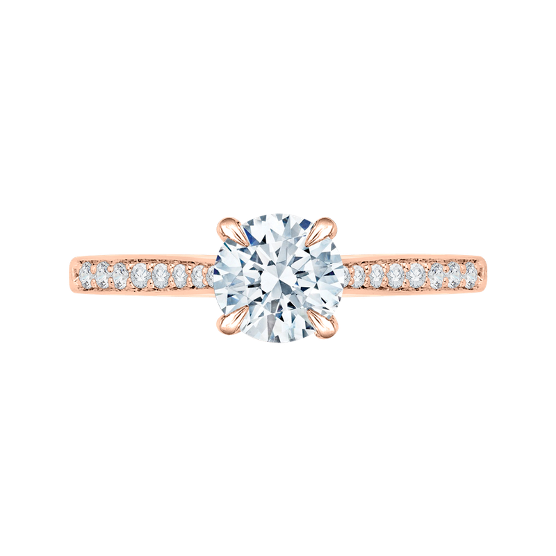 Carizza 14K Rose Gold Round Cut Diamond Solitaire with Accents Engagement Ring (Semi-Mount)