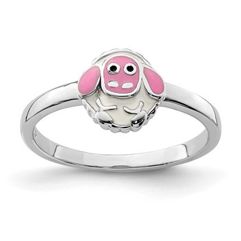 Sterling Silver Rhodium-plated Childs Enameled Lamb Ring
