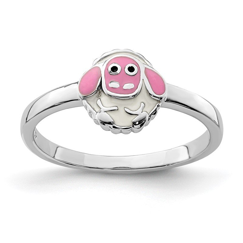 Quality Gold Sterling Silver Rhodium-plated Childs Enameled Lamb Ring