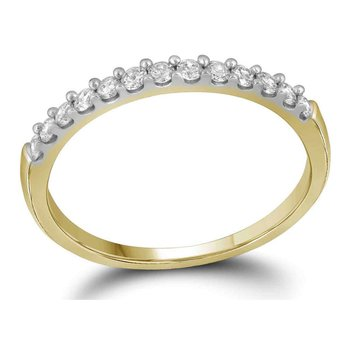 14kt Yellow Gold Womens Round Diamond Slender Wedding Anniversary Band 1/4 Cttw