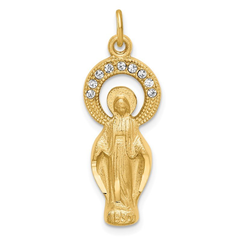 Fine Jewelry by JBD Sterling Silver Gold Tone & CZ Miraculous Medal Pendant