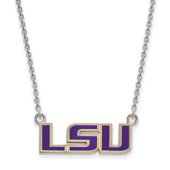 Sterling Silver Louisiana State University NCAA Necklace