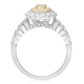 Pave Shank Double Halo Diamond Ring