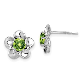 Sterling Silver Rhodium-plated Floral Peridot Post Earrings