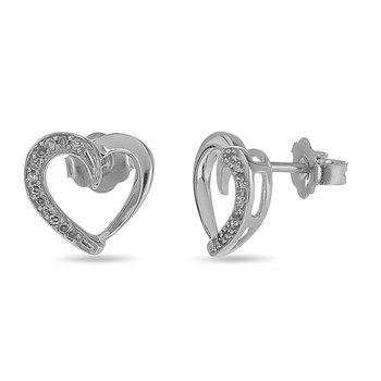 925 SS and Diamond Heart Stud Earring in Prong Setting