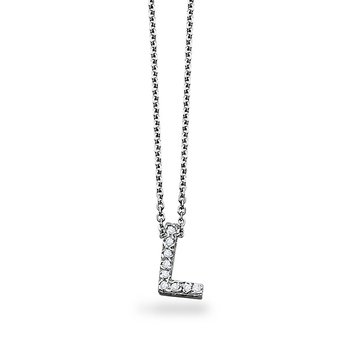 "Diamond Block Initial ""L"" Necklace in 14k White Gold with 9 Diamonds weighing .07ct tw."