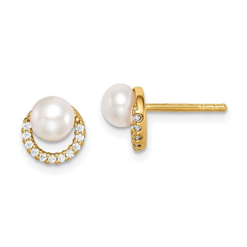 Quality Gold Sterling Silver Gold-tone w/ FW Cultured Pearl and CZ Earrings