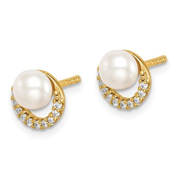 Sterling Silver Gold-tone w/ FW Cultured Pearl and CZ Earrings