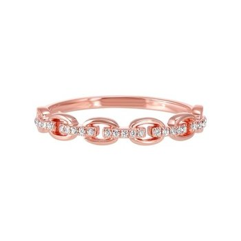 Diamond Cable Chain Rose Gold Stackable Wedding Ring (0.08ctw)