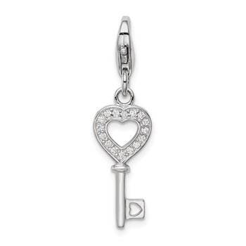 Sterling Silver Rhodium-plated CZ Heart Key w/Lobster Charm
