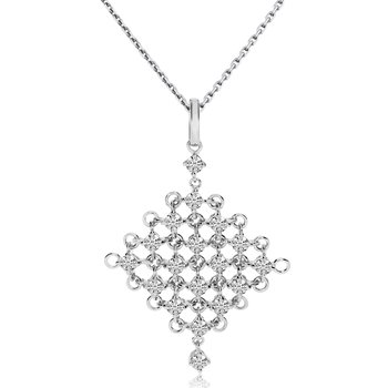 "14k White Gold Mesh Diamond Fashion Pendant with 18"" Chain"
