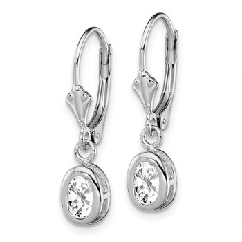 Sterling Silver Rhodium 6x4mm Oval CZ Leverback Earrings