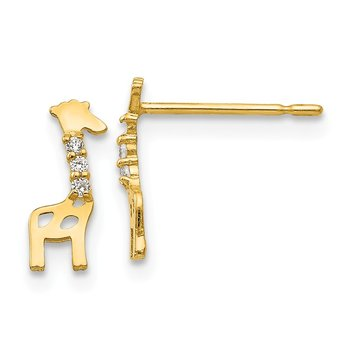 14k Madi K CZ Giraffe Post Earrings