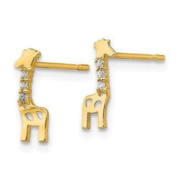 14k Madi K CZ Children's Giraffe Post Earrings