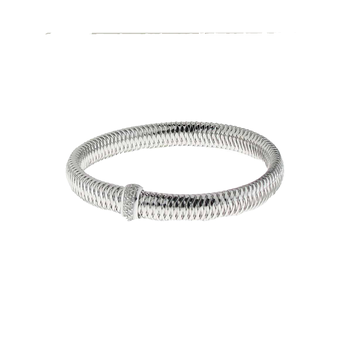 #25960 Of 18K White Gold Small Bangle With Diamonds