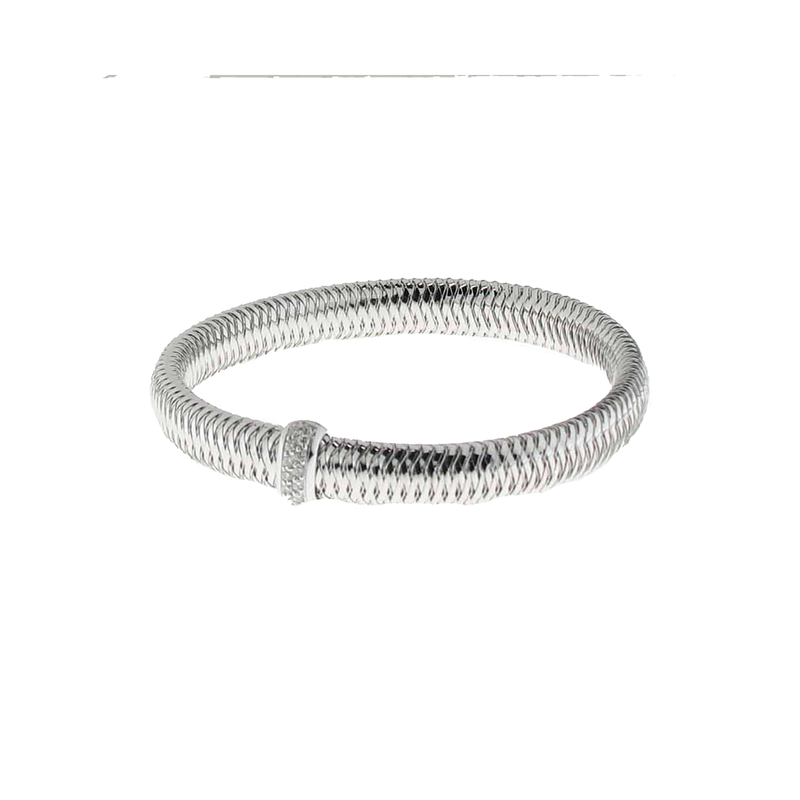 Roberto Coin  #25960 Of 18K White Gold Small Bangle With Diamonds