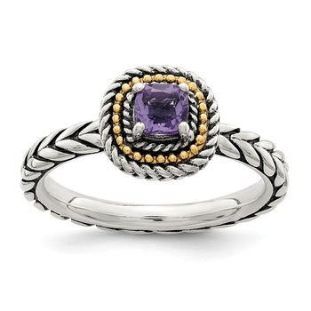 Sterling Silver w/ 14K Accent Amethyst Square Ring