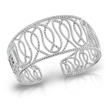 Sterling Silver with Diamonds Swirl Design Cuff.