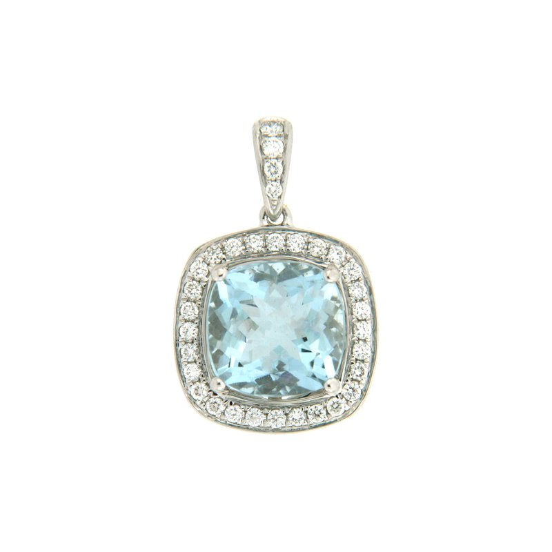 Paragon Fine Jewellery 18k White Gold Pendant with Aqua & Diamond