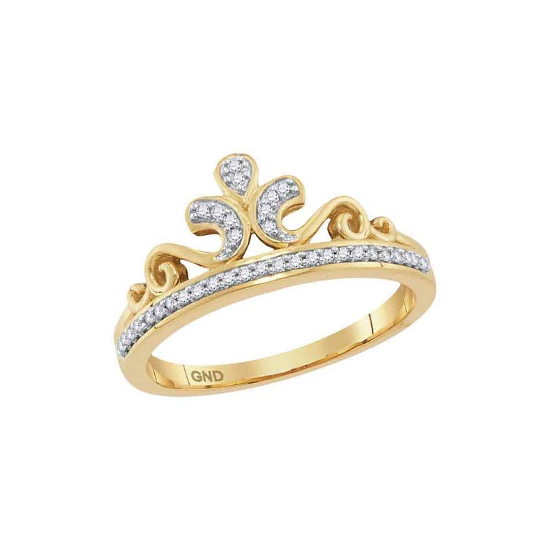 Gold-N-Diamonds, Inc. (Atlanta) 10kt Yellow Gold Womens Round Diamond Crown Tiara Band Ring 1/10 Cttw