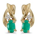 Color Merchants 10k Yellow Gold Oval Emerald And Diamond Earrings