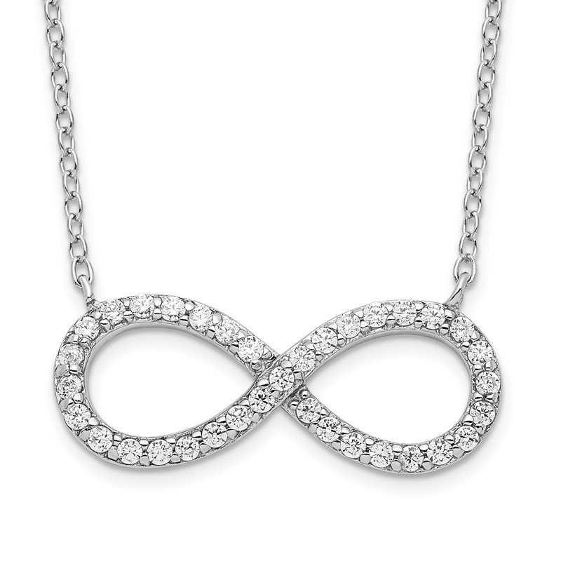 Quality Gold Sterling Silver Rhodium-plated with CZ Infinity w/ 2 IN EXT Necklace