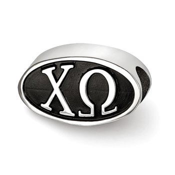 Sterling Silver Chi Omega Greek Life Bead