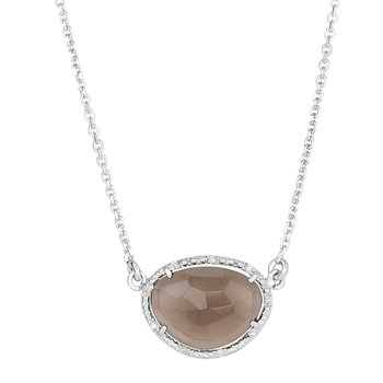 Sterling Silver Quartz & Dia Gem Candy Necklace