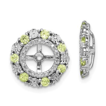 Sterling Silver Rhodium Peridot Earring Jacket