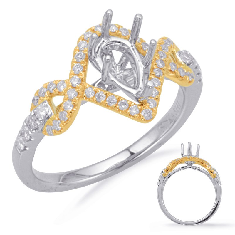 S. Kashi  & Sons Yellow & White Gold Halo Engagement Ring