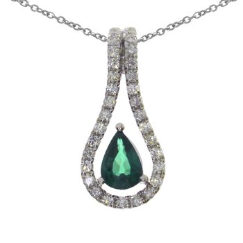 14k White Gold Emerald Pear Pendant
