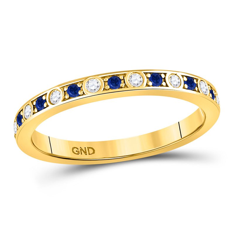 Gold-N-Diamonds, Inc. (Atlanta) 10kt Yellow Gold Womens Round Blue Sapphire Diamond Alternating Stackable Band Ring 1/4 Cttw